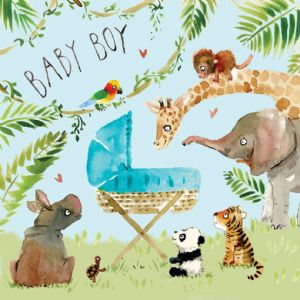 FIZ4 - New Baby Boy Card Jungle